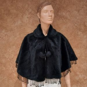 🍒 Casa Dona Faux Black  Fur Wrap Cape top woman